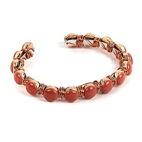 Perles Direct Peach Serenity Glam Wire Wrap Bracelet kit, Orange, 3pièces