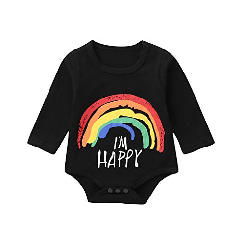 UULIKE Kid Baby Girls Bodysuit Romper Casual Rainbows I'm Happy Print Top Newborn Toddler Infant Wedding Pageant Communion Party Birthday Christening Baptism Clothes