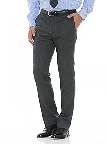 Savile Row Men's Grey Flannel Formal Slim Fit Trouser 30