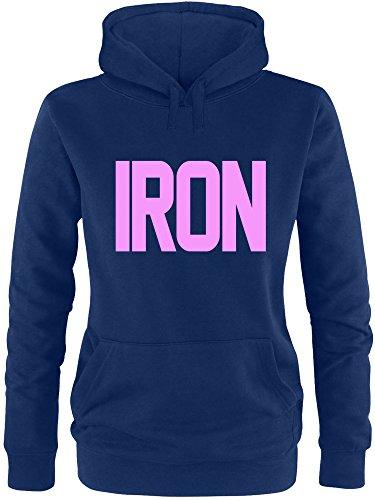 EZYshirt® Iron Damen Hoodie Navy/Rosa