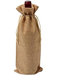 Cratone - Bolsas de Yute Natural rústico con cordón para Botellas de Vino ...