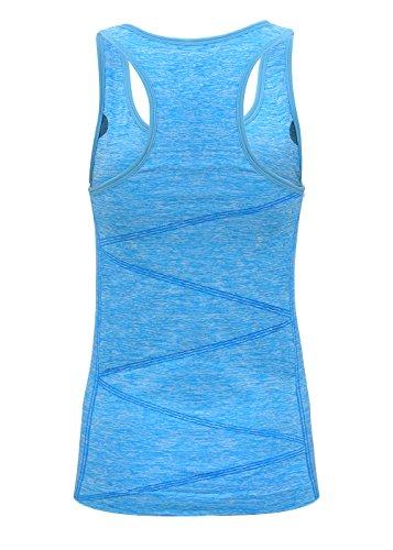 Damen Sport Tanktop,Disbest Sport Fitness Running Tops pro ärmellos Quick Dry Training Tank Tops Power blau