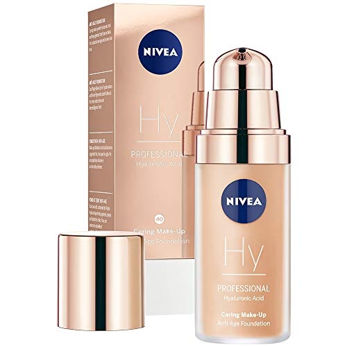 NIVEA PROFESSIONAL Hyaluronsäure Anti-Age Make-Up Foundation, 40W, warmer Hautton, Anti-Aging...