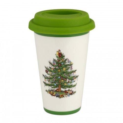 Spode Weihnachtsbaum Christmas Tree Travel Mug with Silicone Lid mehrfarbig Spode China Christmas Tree