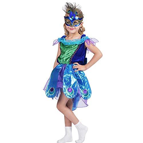 SHANGLY Halloween Pfau Kostüm Für Mädchen Schöne Prinzessin Kleid Für Geburtstagsfeier Kinderkostüm Fantasien Weihnachten Kinderkostüme,S