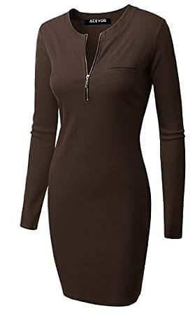 ACEVOG Damen Etuikleid O-Ausschnitt Langarm Stretch Bodycon Knielang Kleider mit Reißverschluss Herbst Winter 5 Farben Braun Gr.36