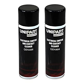 Unipart 2 x Electrical Switch and Contact Cleaner - GEN466 500ml Aerosol Spray - High Purity Solvent Cleaner for Home, Office or Commercial Electrical Components.