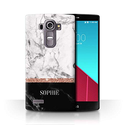 Personalisiert Individuell Roségold Glitter Marmor Hülle für LG G4 Beat/H735 / Zwei Ton Marmor Stempel Design/Initiale/Name/Text Schutzhülle/Case/Etui (Glitter Skins Beats)