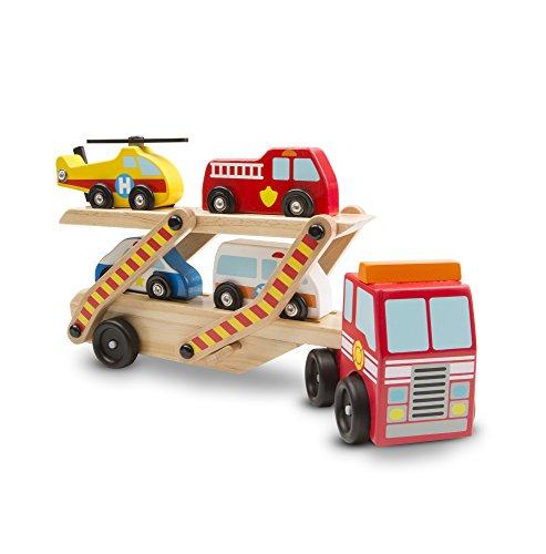 Melissa & Doug Autotransporter aus Holz für Einsatzfahrzeuge mit 1 LKW und 4 Rettungsfahrzeugen (6 Teile)