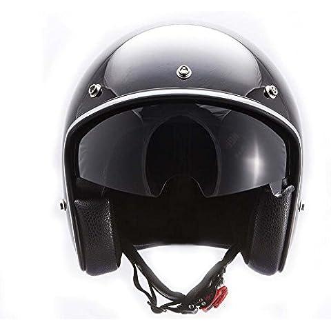 MT LE MANS nuovo scooter Casco Jet Bobber Vecchio Tritatutto, colore: nero lucido e Cargo Net