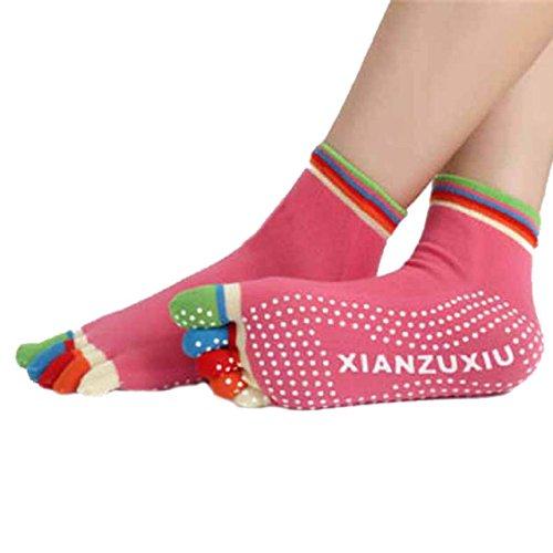 Damen-rutsch-griffe (Damen Zehensocken Socken Transer® Baumwolle Wärmer Rutsch Socken Größe: 24 cm (Rot 2))