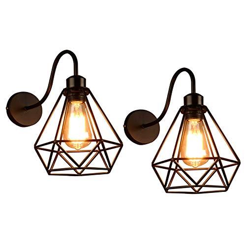 2 Pack Wandlampe Vintage Wandleuchte Schwarz Metall Deckenleuchte E27 Industrial Retro Hängeleuchte für Schlafzimmer Wohnzimmer Esstisch (40-zoll-led-licht Bar)