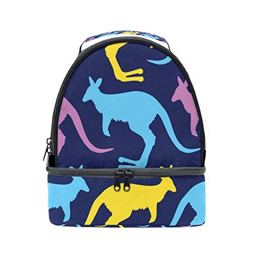 Isolierte Känguru (Bunte Tier-Känguru-Lunchbox mit Schultergurt, isoliert, für Kinder, Mädchen, Jungen, Erwachsene, Frauen, Herren, Picknick, Schule)