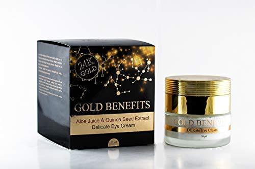 La crème délicate pour les yeux Gold Benefits retarde le vieillissement. contient une formule unique de 27 minéraux de la mer Morte combinés avec de l'acide hyaluronique et de l'or 24k.