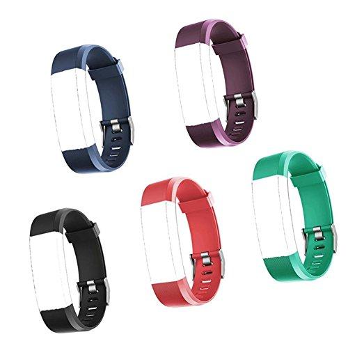Eve L Fitness Armband,Fitness Tacker Ersatzarmband ID115 Plus HR Verstellbares Wasserdichtes Ersatzarmband, 5 Farb-Set,5 Stück (schwarz, rot, blau, grün, lila)