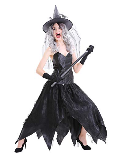 RIBIKA Halloween Black witch Hat Women Christmas Cosplay spider Web Yarn Fancy Dress Party (Spider Woman Bodysuit)