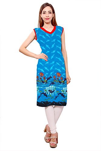 Kurti Studio Carnival Sky Blue Unstitched Premium Cotton Rayon Kurti Dress Material