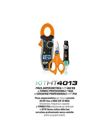 HT Kit Promo HT4013 Pinza amperometrica AC/DC 400A Misura Temperatura Sonda K Corrente AC/DC fino 400A + Forbice Professionale F50 + HT70 Cercafase Senso Ciclico Fasi HA004013