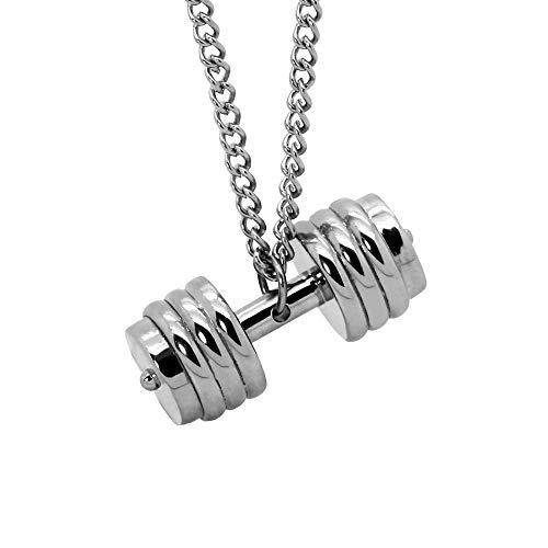 tumundo Halskette mit Anhänger Edelstahl Ketten-Anhänger Hantel Gewicht  Sport Fitness Bodybuilding Panzerkette Silber, ec3accb30f