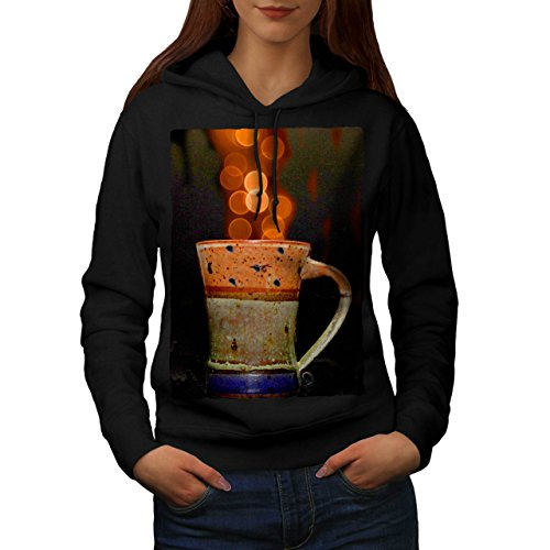 stylish-cup-of-tea-color-bubbles-women-new-black-m-hoodie-wellcoda