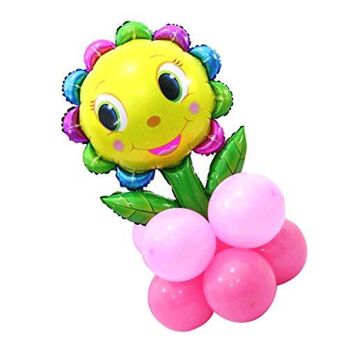 Riesen Sonnenblumen Folienballon Hochzeit Party Kindergeburtstag Baby-Dusche Deko - Rose Rot, 60 x 90 cm ()