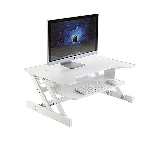 QJJML Steh-Computertisch, Schreibtisch Mit HöHenverstellbarem Klapptisch - Mobile Werkbank - Steh-Computertisch Drucker, Monitor, Laptop, PC, Desktop Und Tastaturablage,White -