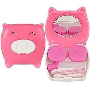 Travel Cartoon Piggy Contact Lens Case Mirror Tweezer Stick Holder Box