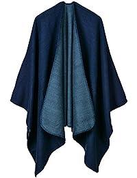 Aivtalk - Oversize Poncho de Lana para Mujer Liso Capa de Punto de Gran Tamaño Calentito