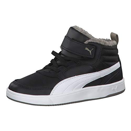 (Puma Unisex-Kinder Rebound Street V2 FUR V PS Hohe Sneaker, Schwarz Black White-Elephant Skin 04, 33 EU)