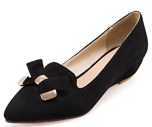 Easemax Damen Stilvoll Bowknot Metallic Accessoire Nubuk Wedge Slipper Pumps Schwarz 46 EU