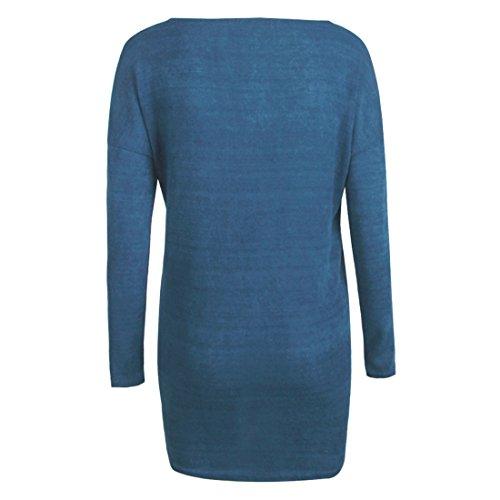 QIYUN.Z Damen Herbst Winter Pullover Langarm V Ausschnitt Oversize Tops Hellblau