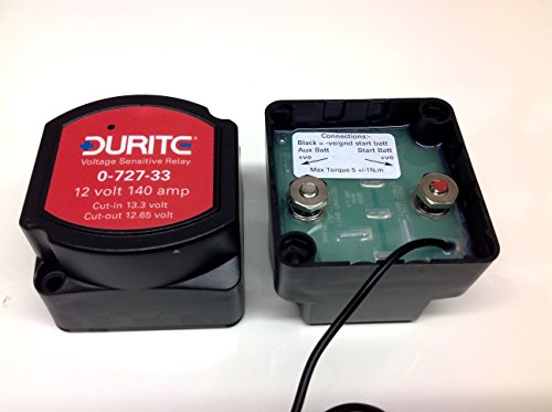 4mtr Split Charge Relay Kit 12v 140amp Durite 0-727-33 Intelligent Voltage Sense Relay SCKD114