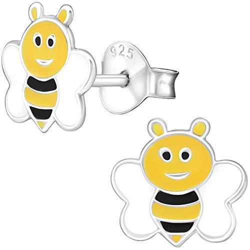 (JAYARE Kinder-Ohrstecker Biene 925 Sterling Silber 8 x 8 mm weiß gelb schwarz Mädchen-Ohrringe im Schmuck-Etui)