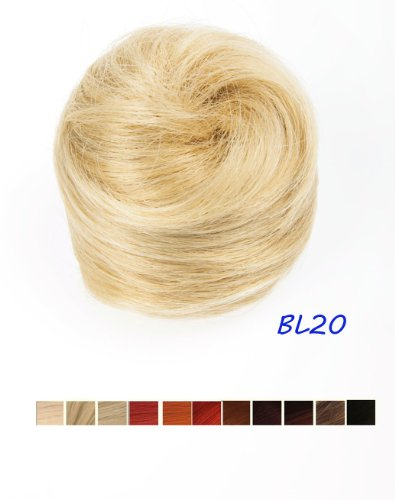 Prettyland DQ87A - Dutt Haarteil glatt Haarknote offener Hepburn-Dutt 13cm 45G mit Haargummi - hell Aschblond BL20