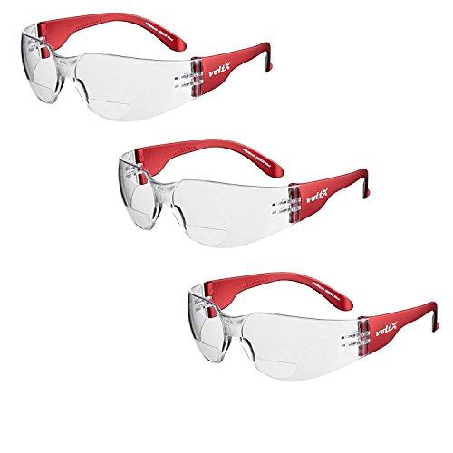 3 x voltX 'Grafter' BIFOKALE (KLAR +1.5 Dioptrie) Leichtgewichts Industrie Lesen Schutzbrille, CE EN166F Zertifiziert/Sportbrille für Radler - Safety Bifocal Reading Glasses