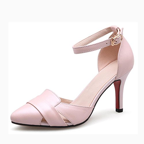 L@YC Tacchi alti In Pelle In Pelle Baotou Big Word Word Fibbia Con Sandali Pointed Pink