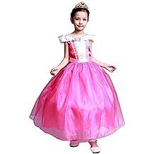 GenialES Disfraz Vestido Princesa Mangas Cortos de Niñas para Cumpleaños Carnaval Fiesta Cosplay Halloween