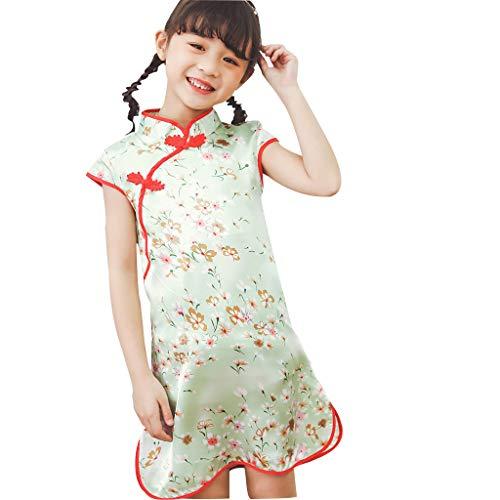 Allegorly Baby Mädchen Floral Chinesisches Cheongsam Vintage Midi Kleid Kurzarm Elegant Prinzessin Kleid Blumekleid Abendkleid Sommerkleid Festlich Hochzeit Cocktailkleid Partykleid - Stufenrock Nähen