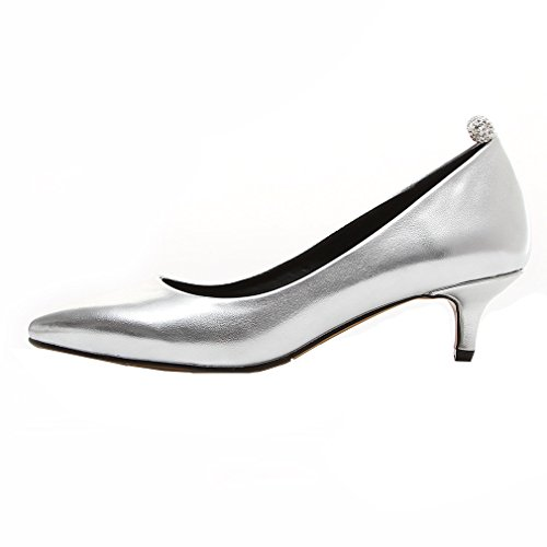 YE Damen Spitze Stiletto Heel Pumps mit Keilabsatz Kristall und Elegant Schuhe Silber
