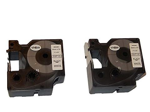 2x vhbw Kassette Patronen Schriftband 24mm für Dymo Labelwriter Duo 400, Labelwriter Duo 450, LabelMaker PC, LabelMaker PC2 wie Dymo D1, 53713.