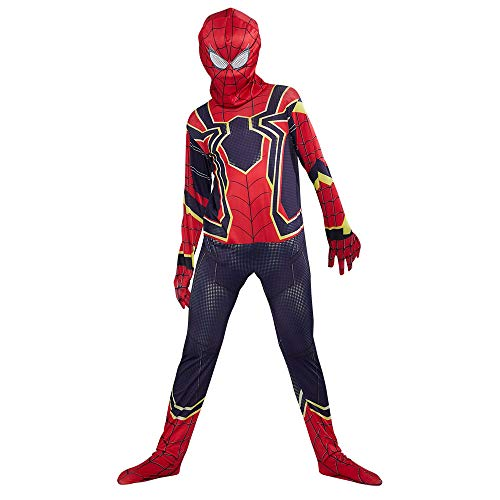 URAQT Spiderman Kostüm, Kids Superheld Spiderman Kostüme, Spiderman kostüme für Kinder, Halloween Karneval Cosplay Party, Zubehör Party Cosplay Kostüm, Jumpsuit Bodysuit Outfit Cosplay Kostüm, L (Spiderman Kostüm Machen)