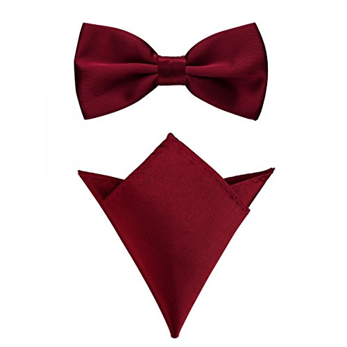 it Einstecktuch in verschiedenen Farben (bis 48 cm Halsumfang) - zur Konfirmation, zum Anzug, zum Smoking - im 2er-Set - Dunkelrot-Weinrot (Schwarzen Fliege Und Hosenträger)