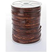 esnado - Lederband, Lederriemen Flach 7 mm x 1,5 mm (5 Meter, Antik Braun)