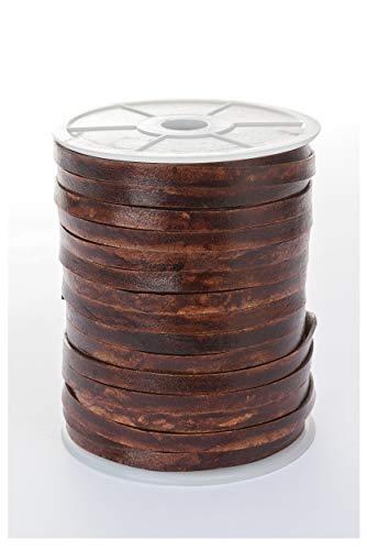 esnado – Banda de cuero, correa de cuero plano 7 mm x 1,5 mm, Marrón envejecido, 5 m