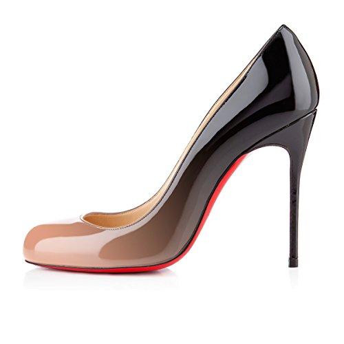 uBeauty Scarpe da Donna - Scarpe col Tacco - Classiche Scarpe col Tacco - Punta Rotonda beige-nero