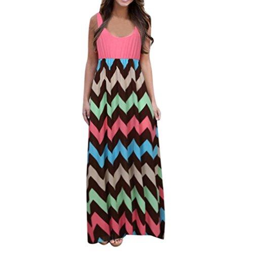 Manadlian_Vestido de mujer Vestido de Mujer Verano 2018 Mujer Rayado Largo Boho Vestido Lady Beach Verano Sundress Maxi Vestido de Talla Grande Vestidos Largos de Fiesta (CN:XL, Rosa)