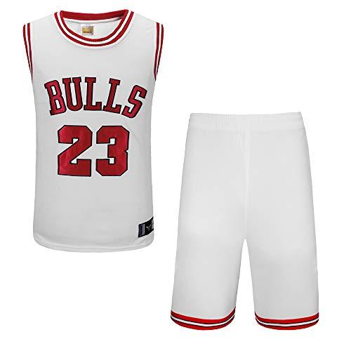 BUY-TO Stiere Nr. 23 Jersey NBA Shorts Basketball Uniform Anzug,White,S