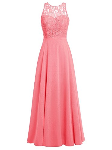Aurora dresses Damen Chiffon Promi-Kleider Rückenfrei Abendkleider Elegant Lang(Koralle,36)