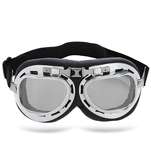 LIUYUNE,UV-beständige Schutzbrille Winddichte Motorradbrille für Outdoor-Sportarten(Color:Silber)