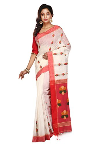 Malati Bastrabitan White Traditional Handloom Saree for Women